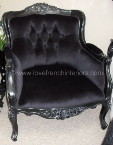 Louis Armchair Upholstered in Noir Black Velvet